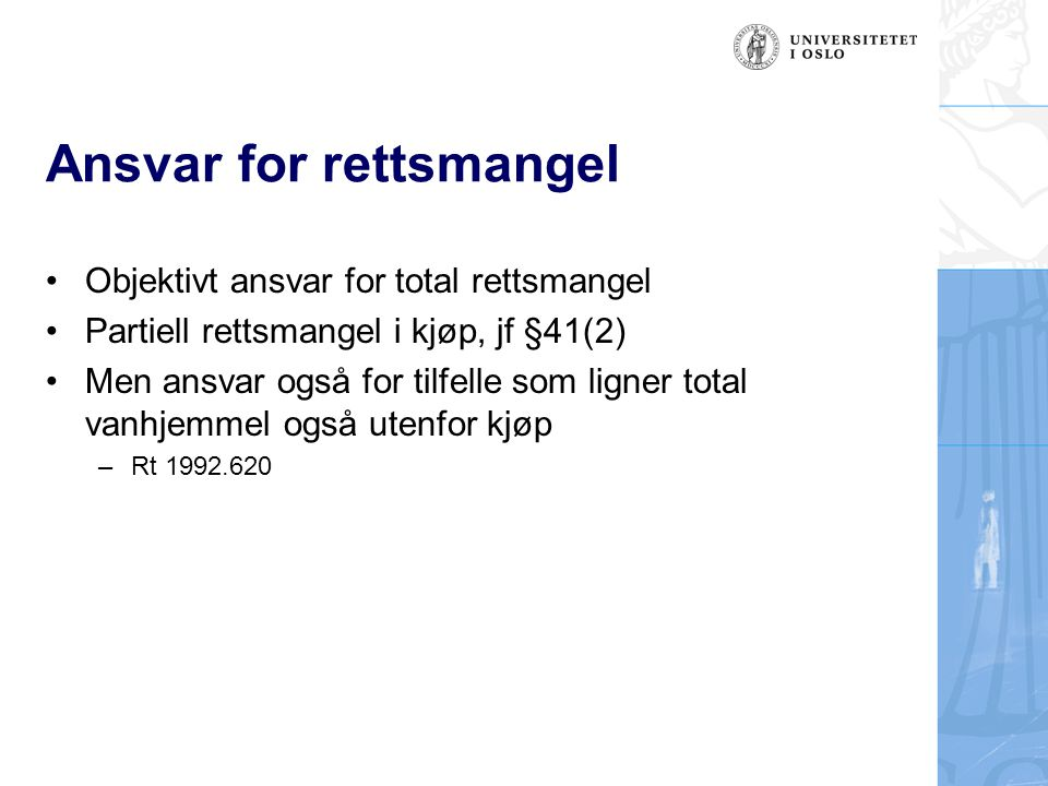 Ansvar for rettsmangel