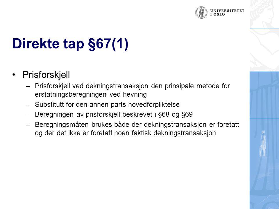 Direkte tap §67(1) Prisforskjell