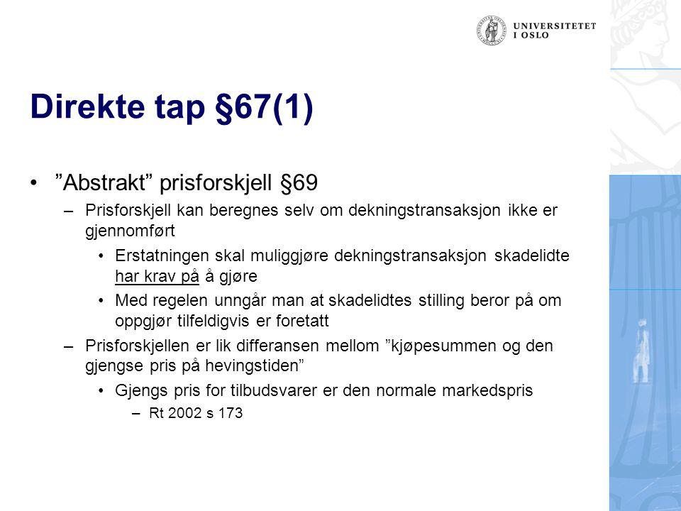 Direkte tap §67(1) Abstrakt prisforskjell §69