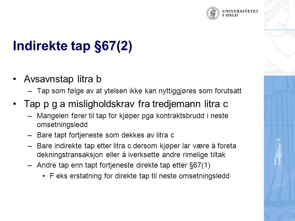 Indirekte tap §67(2) Avsavnstap litra b