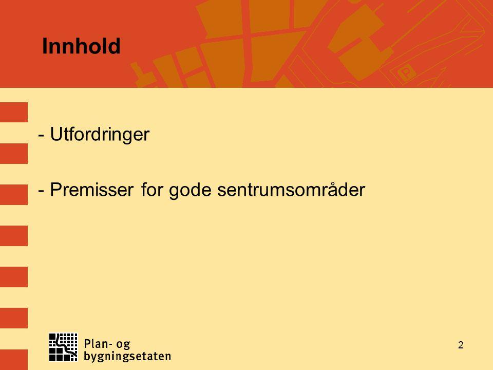 Innhold - Utfordringer - Premisser for gode sentrumsområder 2
