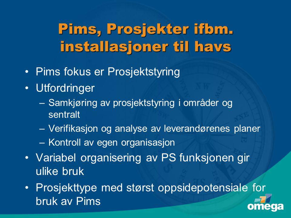 Pims, Prosjekter ifbm. installasjoner til havs