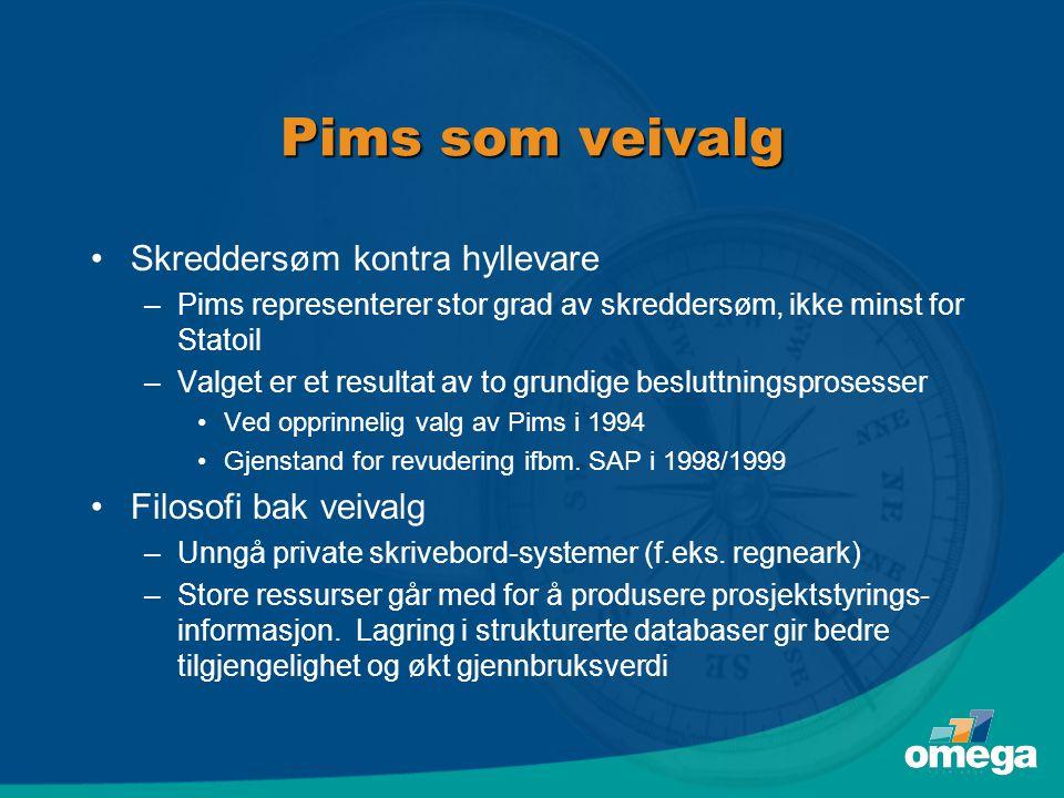 Pims som veivalg Skreddersøm kontra hyllevare Filosofi bak veivalg