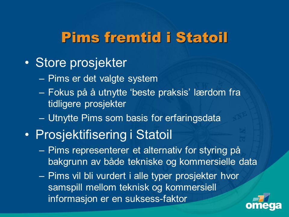 Pims fremtid i Statoil Store prosjekter Prosjektifisering i Statoil