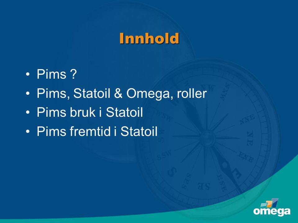 Innhold Pims Pims, Statoil & Omega, roller Pims bruk i Statoil
