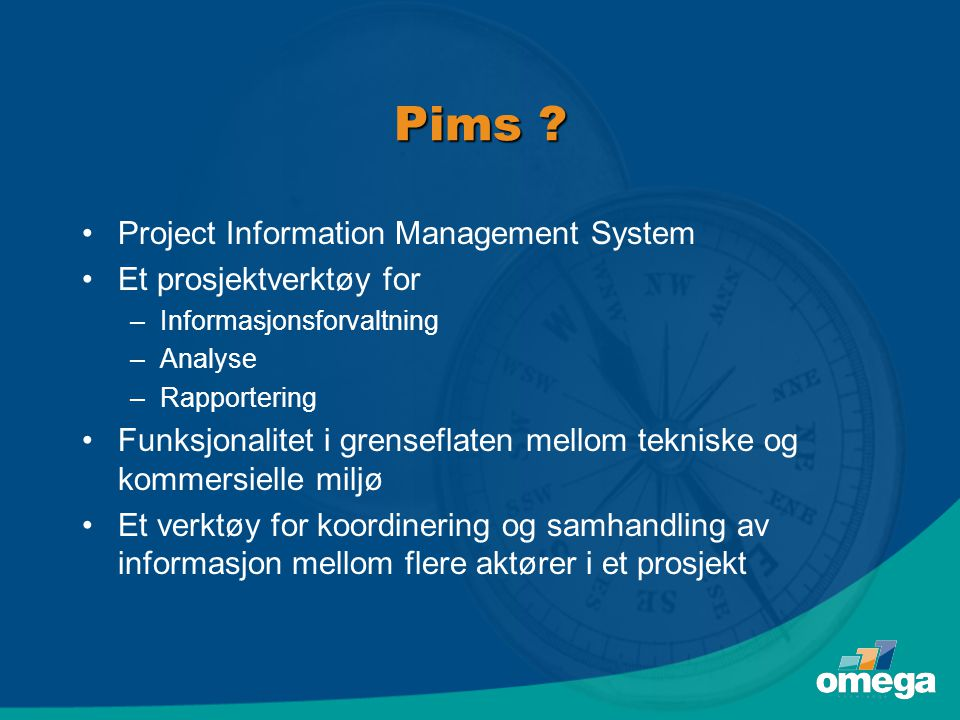 Pims Project Information Management System Et prosjektverktøy for