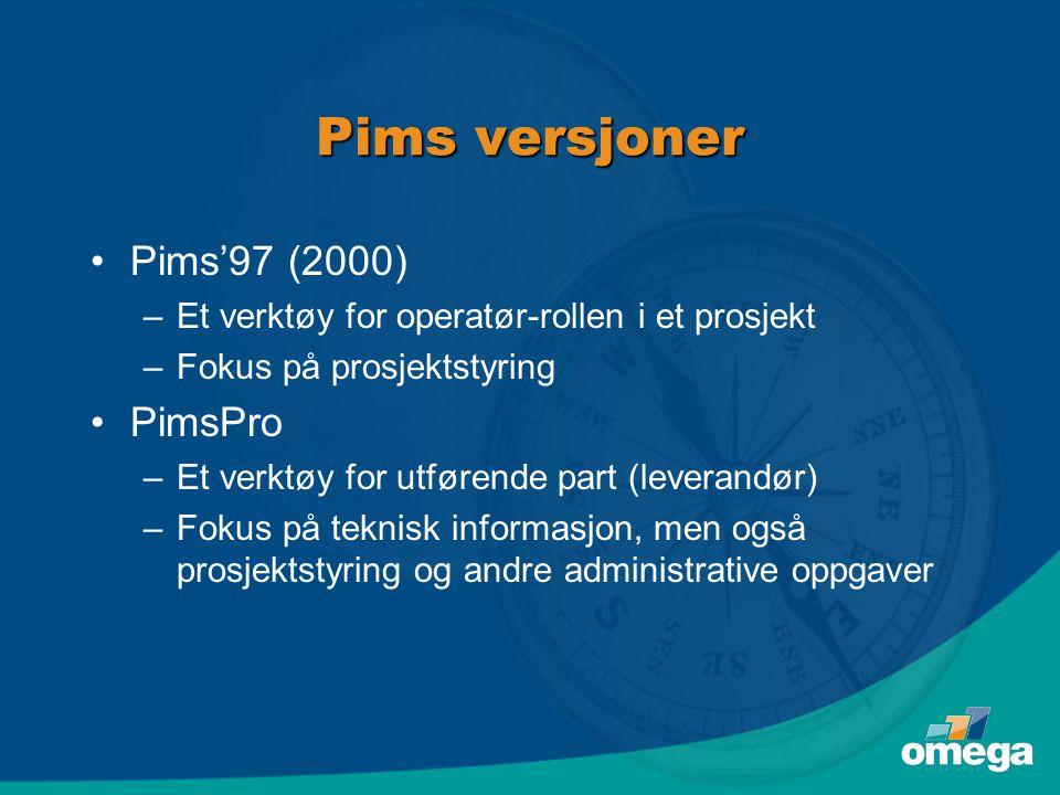 Pims versjoner Pims'97 (2000) PimsPro