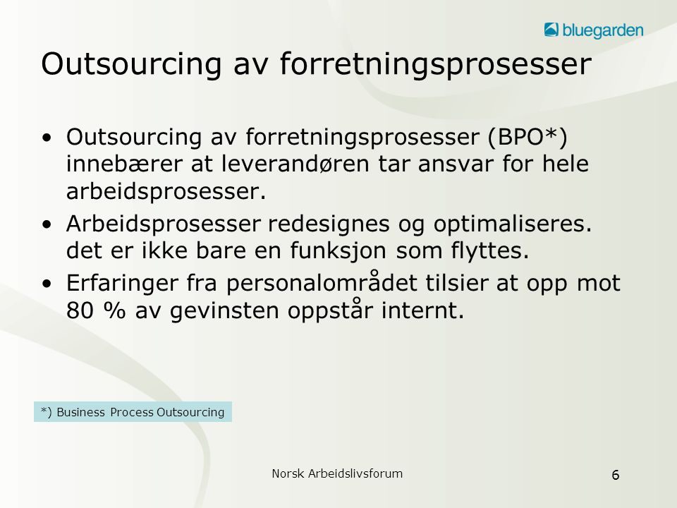 Outsourcing av forretningsprosesser