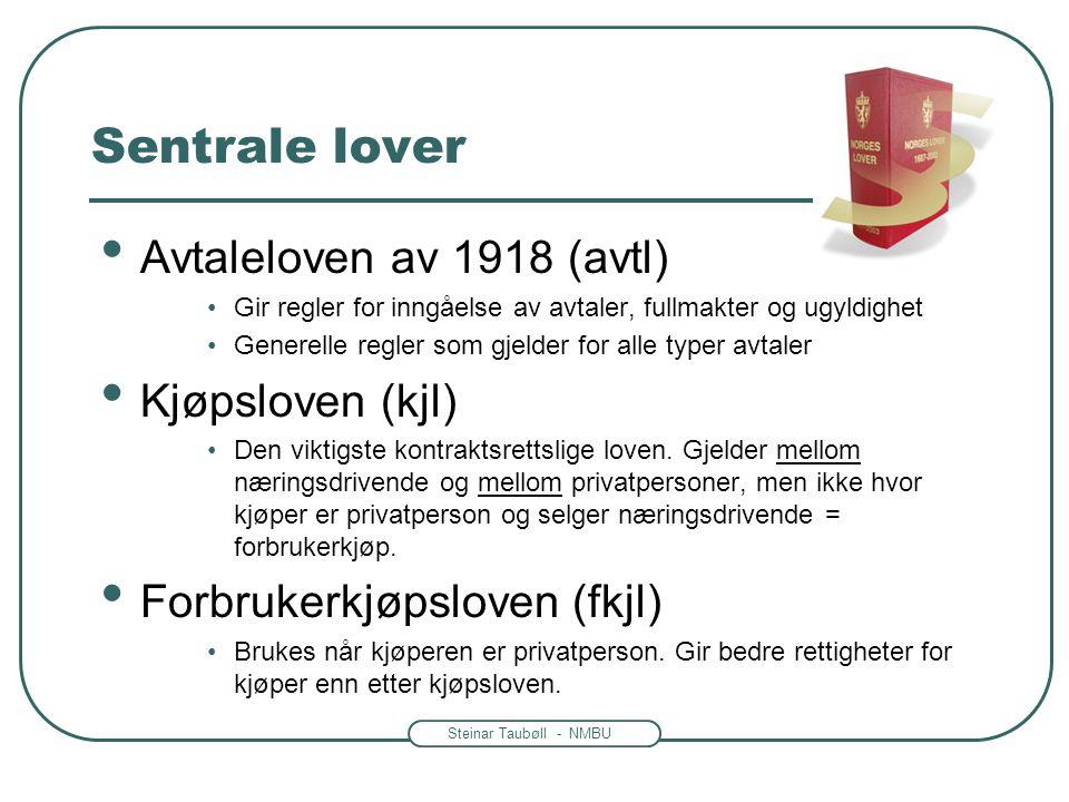 Sentrale lover Avtaleloven av 1918 (avtl) Kjøpsloven (kjl)