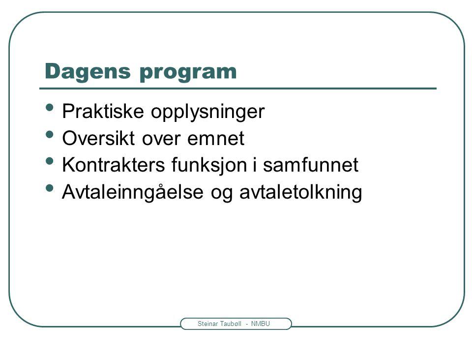 Dagens program Praktiske opplysninger Oversikt over emnet