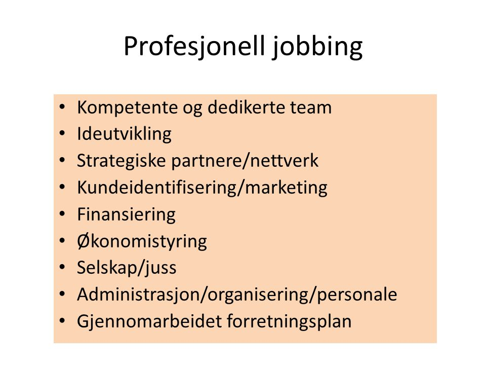 Profesjonell jobbing Kompetente og dedikerte team Ideutvikling