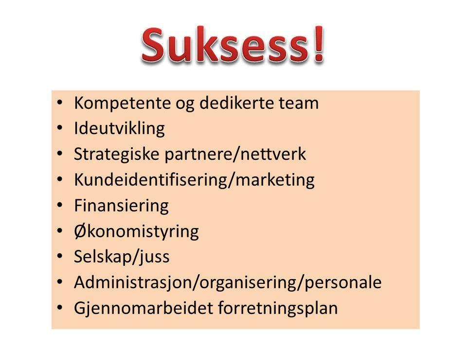Suksess! Kompetente og dedikerte team Ideutvikling