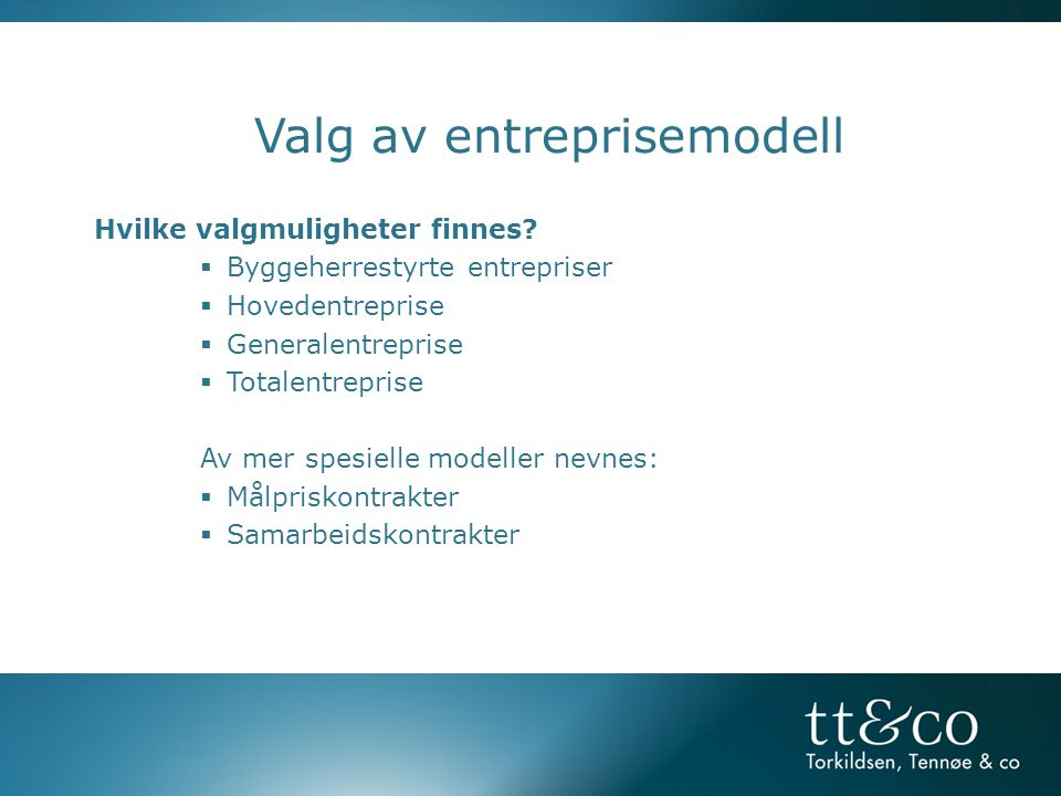 Valg av entreprisemodell