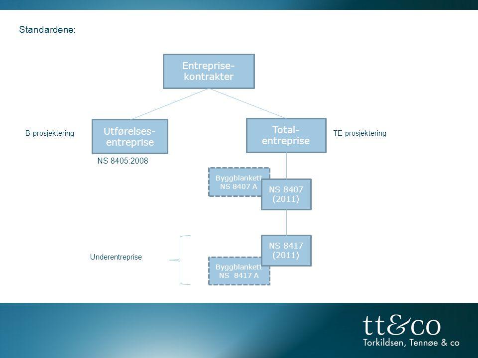 Standardene: Entreprise- kontrakter Utførelses- Total-entreprise