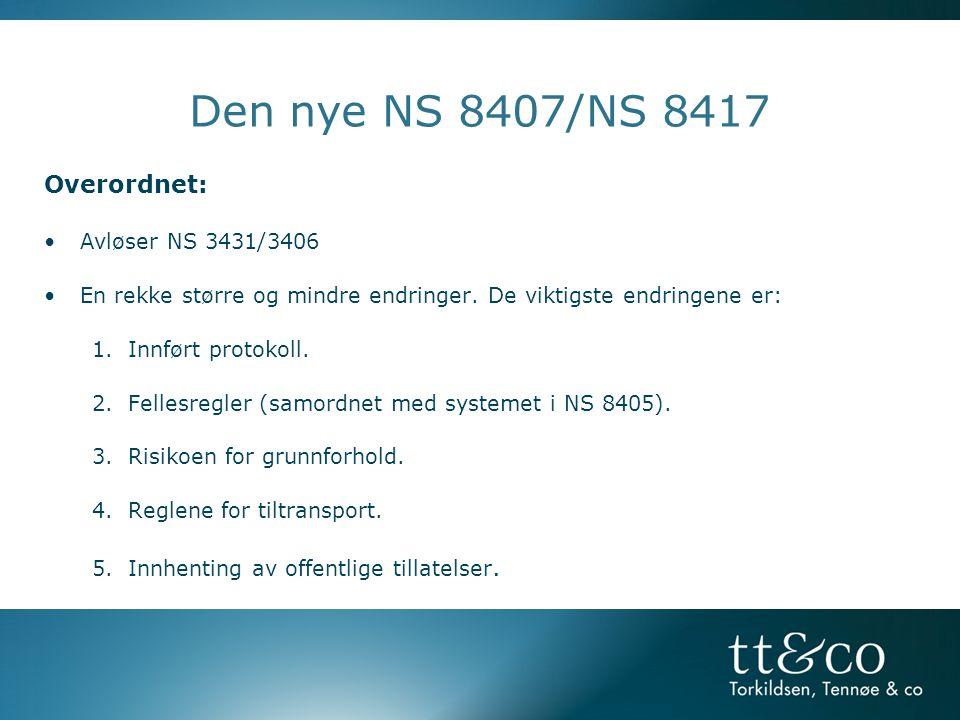 Den nye NS 8407/NS 8417 Overordnet: Avløser NS 3431/3406
