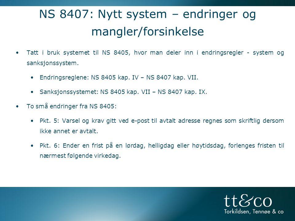 NS 8407: Nytt system – endringer og mangler/forsinkelse
