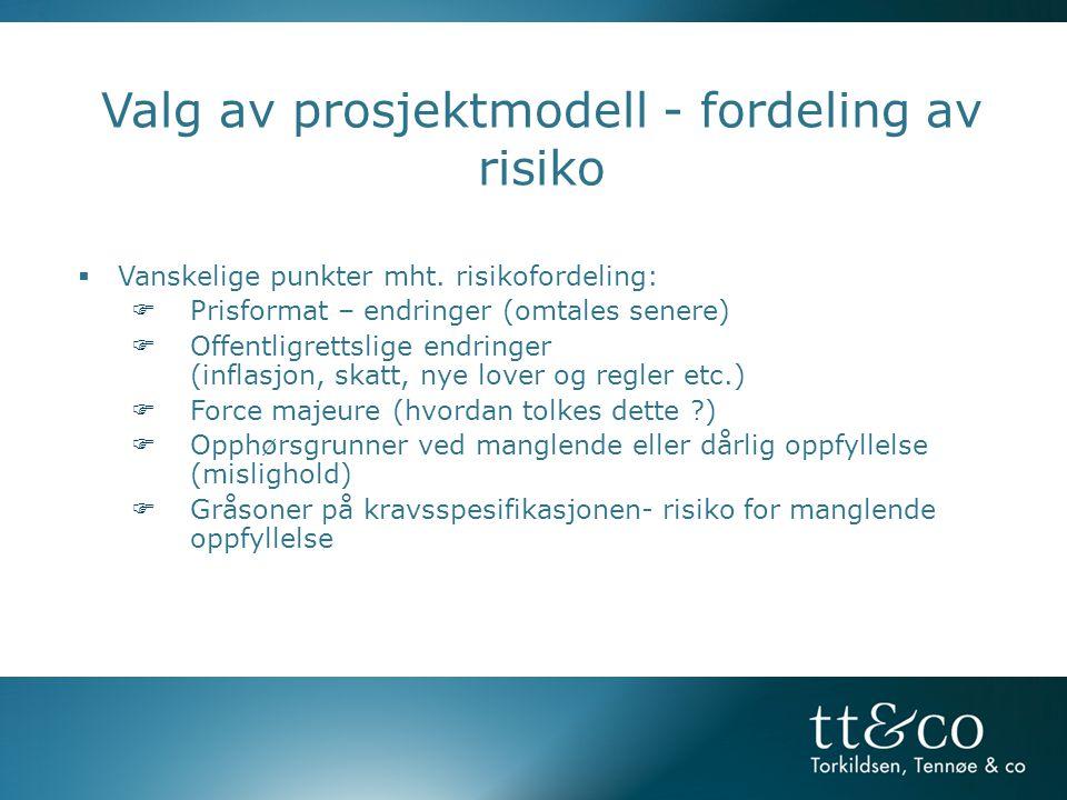 Valg av prosjektmodell - fordeling av risiko