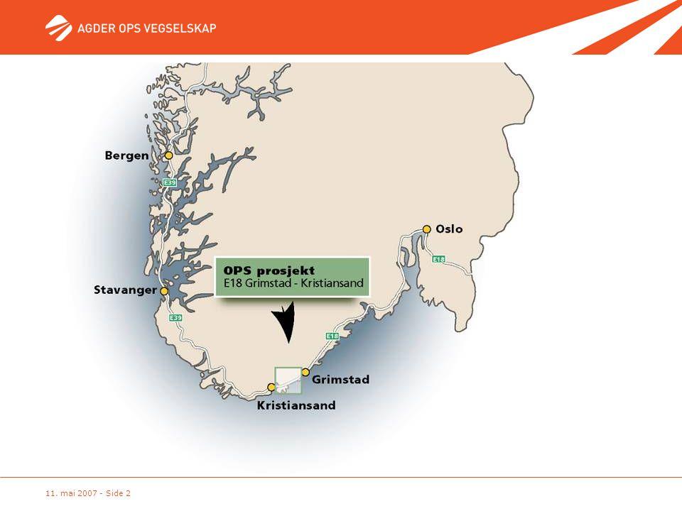 Prosjektmarkering Utbyggingstrekningen er 38 km mellom Kristiansand og Grimstad.