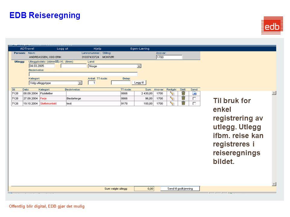 EDB Reiseregning Til bruk for enkel registrering av utlegg.