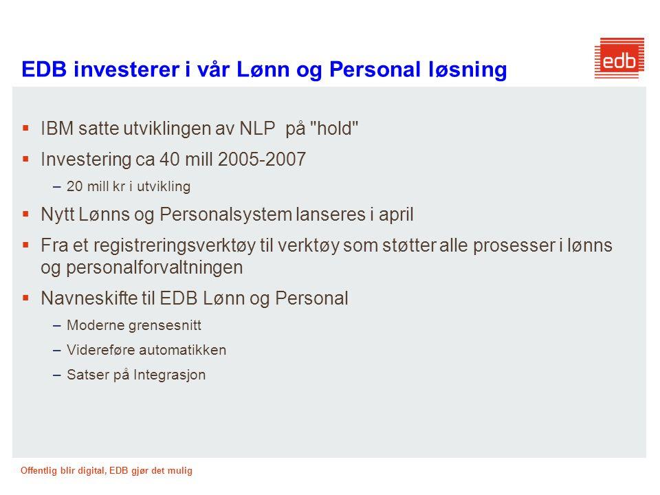 EDB investerer i vår Lønn og Personal løsning
