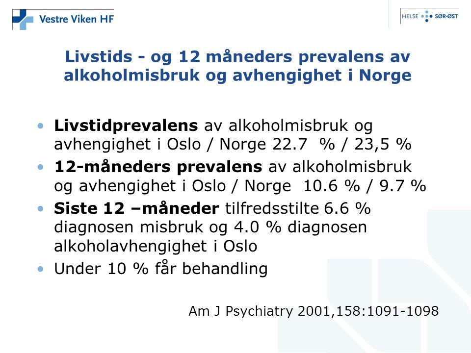 Livstids - og 12 måneders prevalens av alkoholmisbruk og avhengighet i Norge