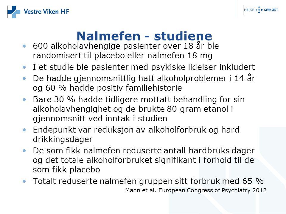 Nalmefen - studiene 600 alkoholavhengige pasienter over 18 år ble randomisert til placebo eller nalmefen 18 mg.