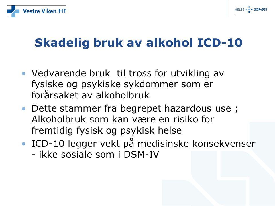 Skadelig bruk av alkohol ICD-10