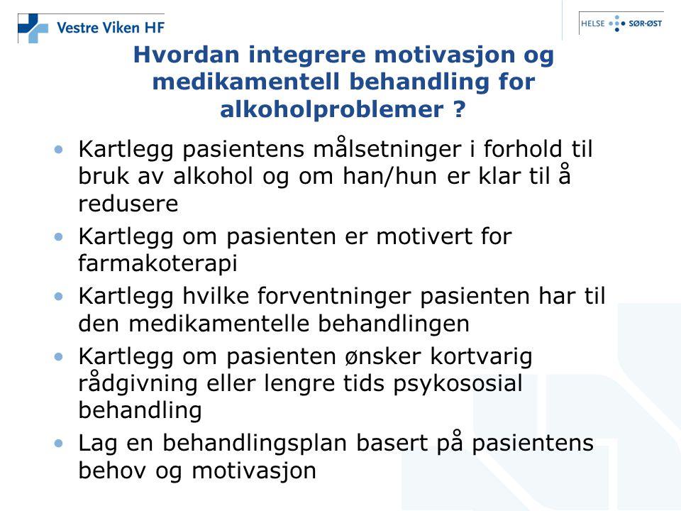 Hvordan integrere motivasjon og medikamentell behandling for alkoholproblemer