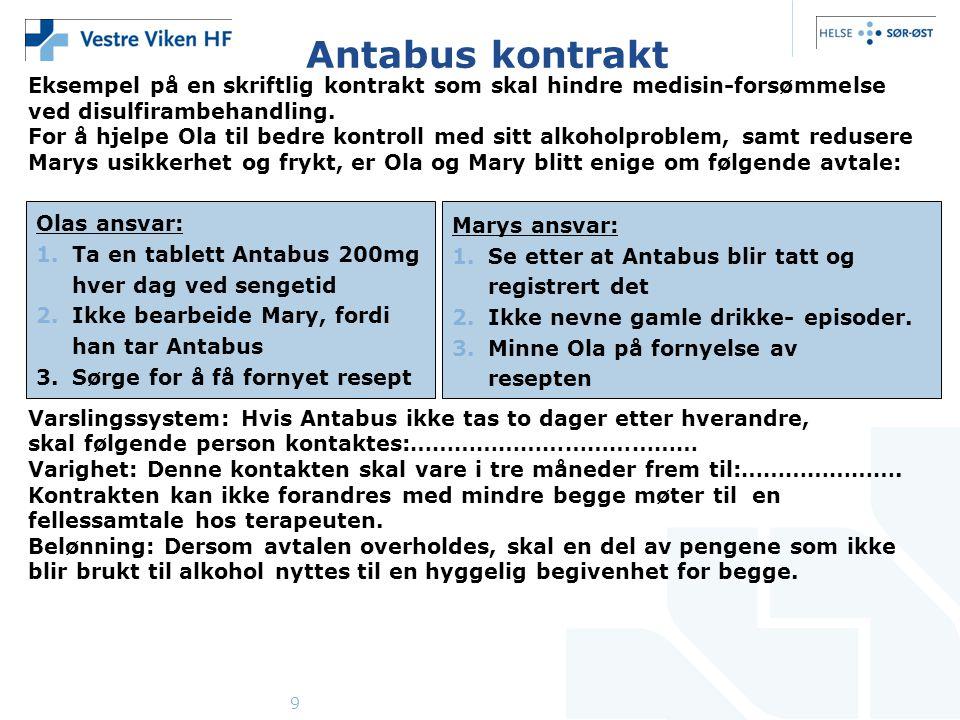 Antabus kontrakt Eksempel på en skriftlig kontrakt som skal hindre medisin-forsømmelse. ved disulfirambehandling.