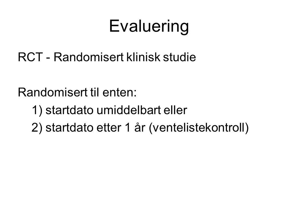 Evaluering RCT - Randomisert klinisk studie Randomisert til enten: