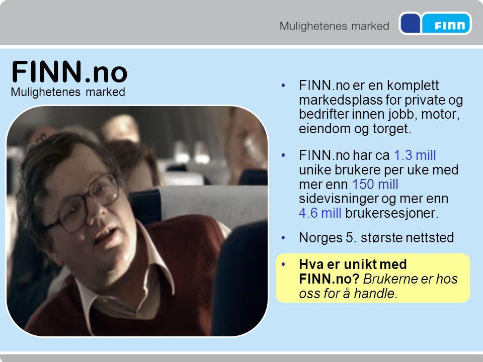 FINN.no FINN.no er en komplett markedsplass for private og bedrifter innen jobb, motor, eiendom og torget.
