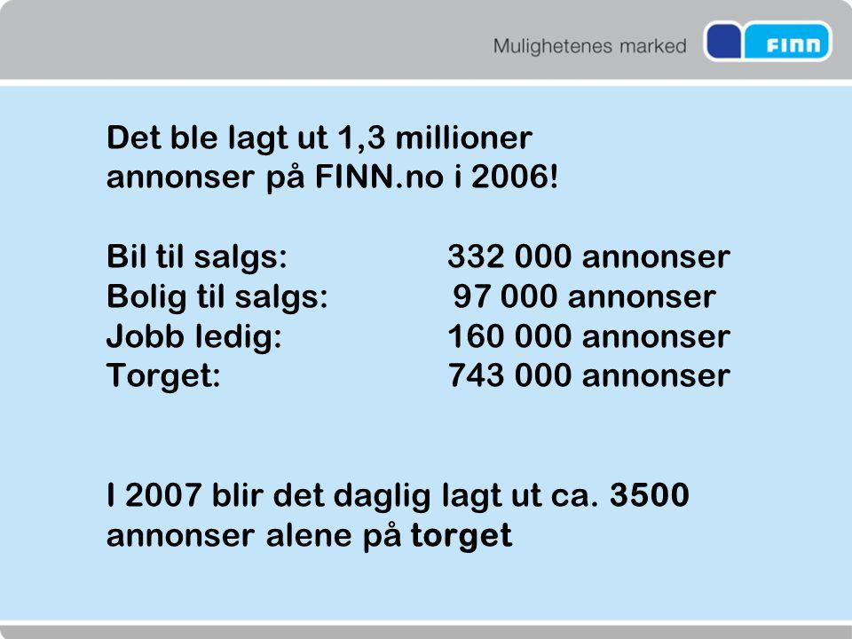 Det ble lagt ut 1,3 millioner annonser på FINN. no i 2006