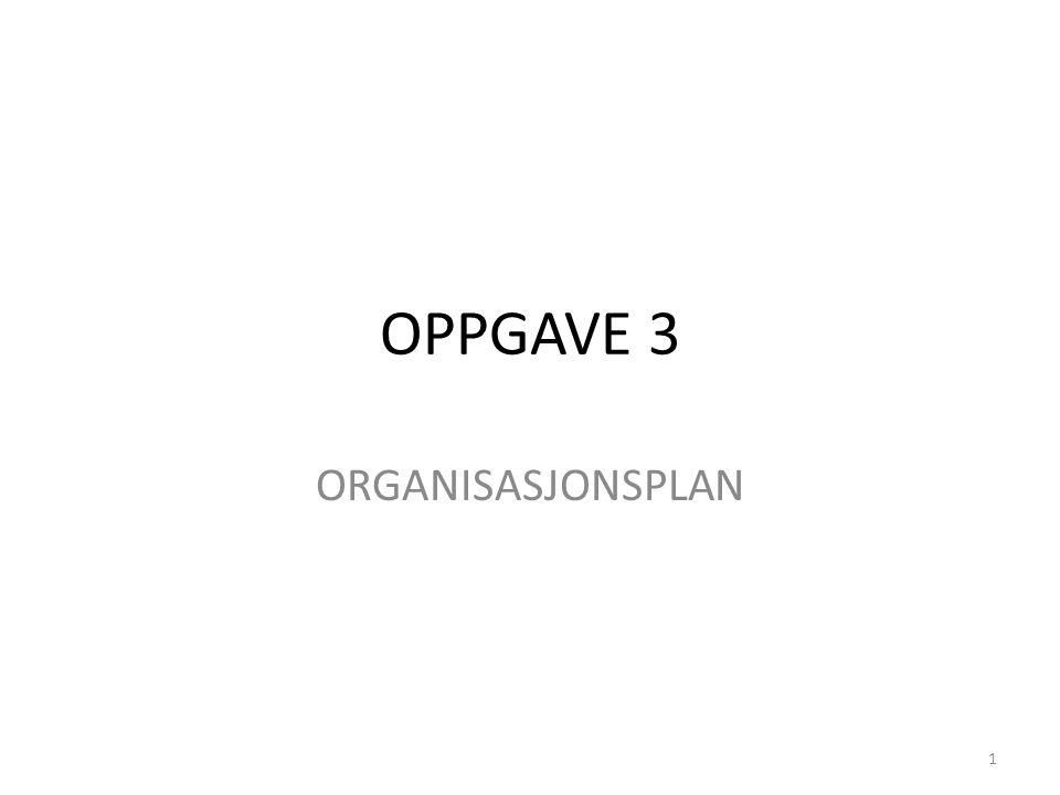 OPPGAVE 3 ORGANISASJONSPLAN