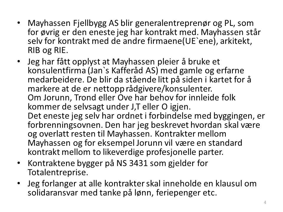 Mayhassen Fjellbygg AS blir generalentreprenør og PL, som for øvrig er den eneste jeg har kontrakt med. Mayhassen står selv for kontrakt med de andre firmaene(UE`ene), arkitekt, RIB og RIE.