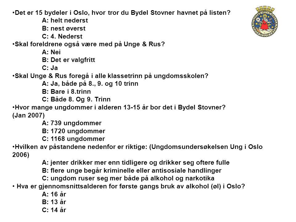 Det er 15 bydeler i Oslo, hvor tror du Bydel Stovner havnet på listen