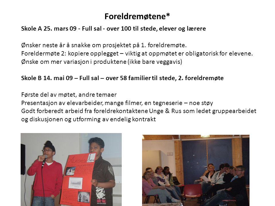 Foreldremøtene* Skole A 25. mars 09 - Full sal - over 100 til stede, elever og lærere. Ønsker neste år å snakke om prosjektet på 1. foreldremøte.