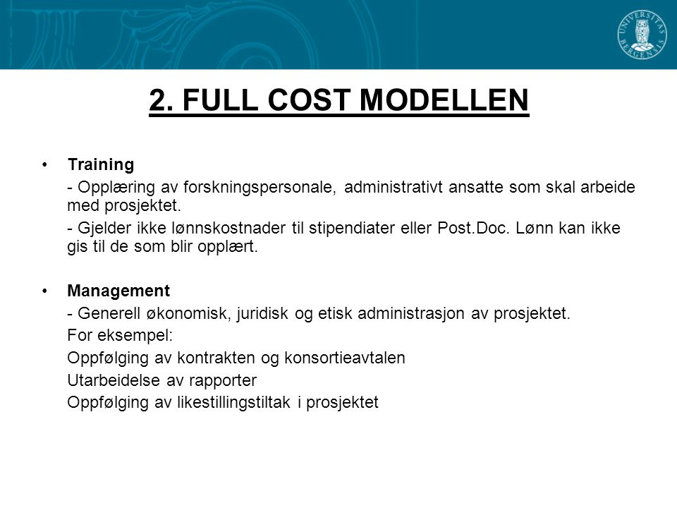 2. FULL COST MODELLEN Training