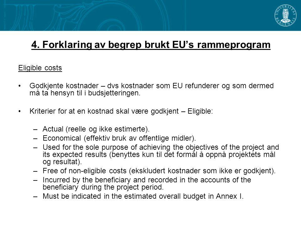 4. Forklaring av begrep brukt EU's rammeprogram