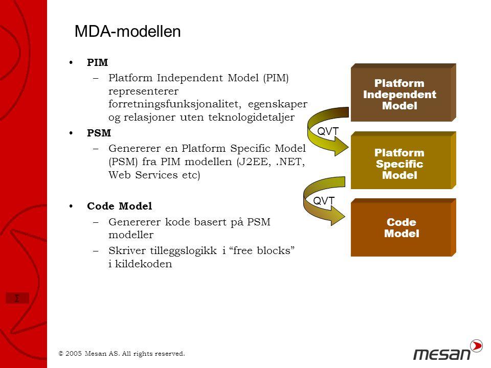MDA-modellen PIM. Platform Independent Model (PIM) representerer forretningsfunksjonalitet, egenskaper og relasjoner uten teknologidetaljer.