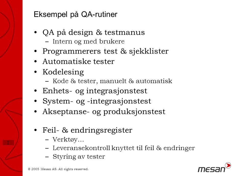 Eksempel på QA-rutiner