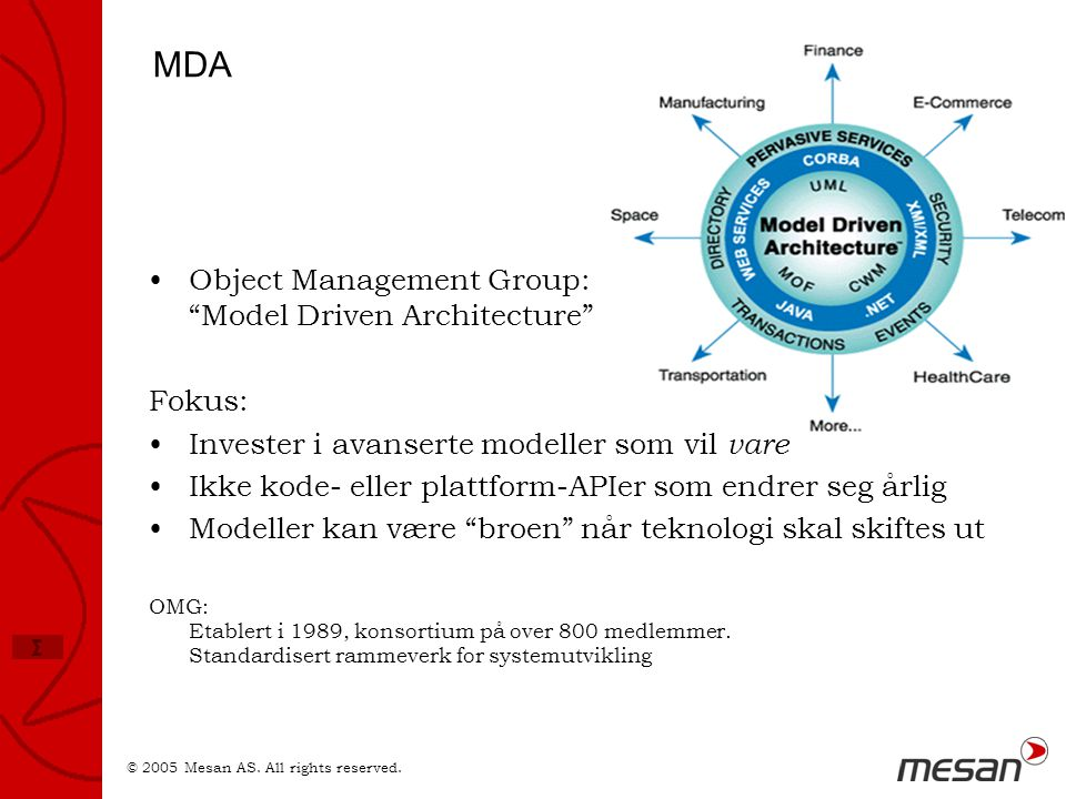 MDA Object Management Group: Model Driven Architecture Fokus: