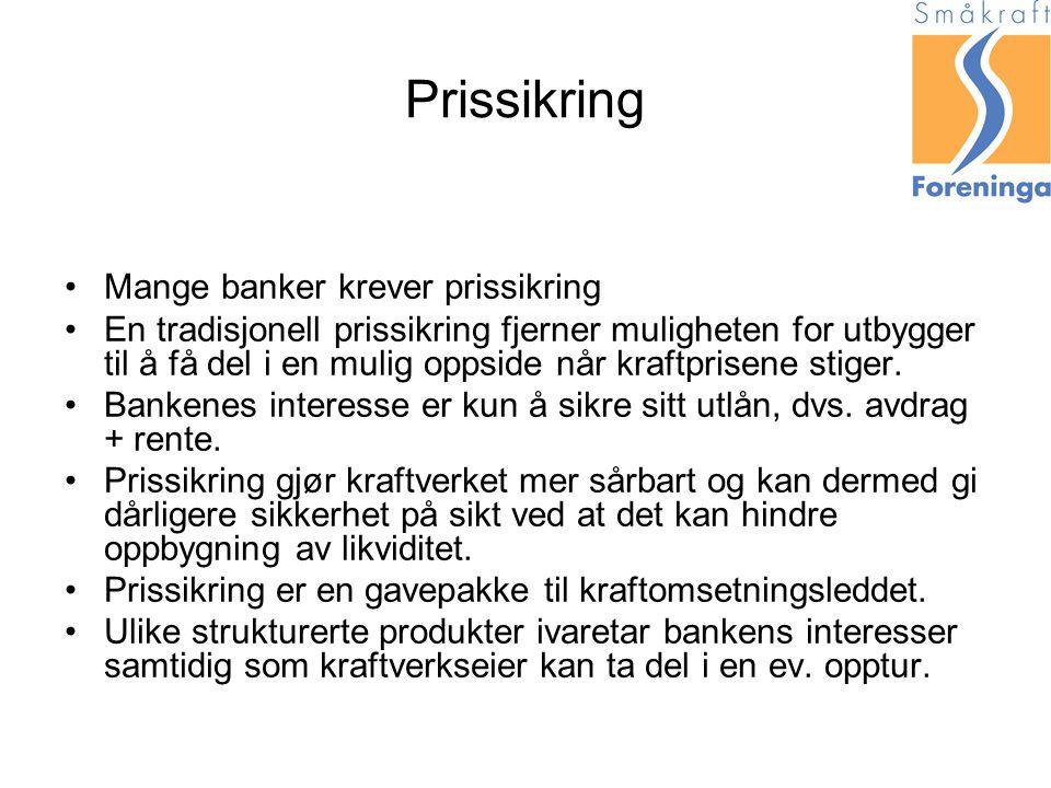 Prissikring Mange banker krever prissikring