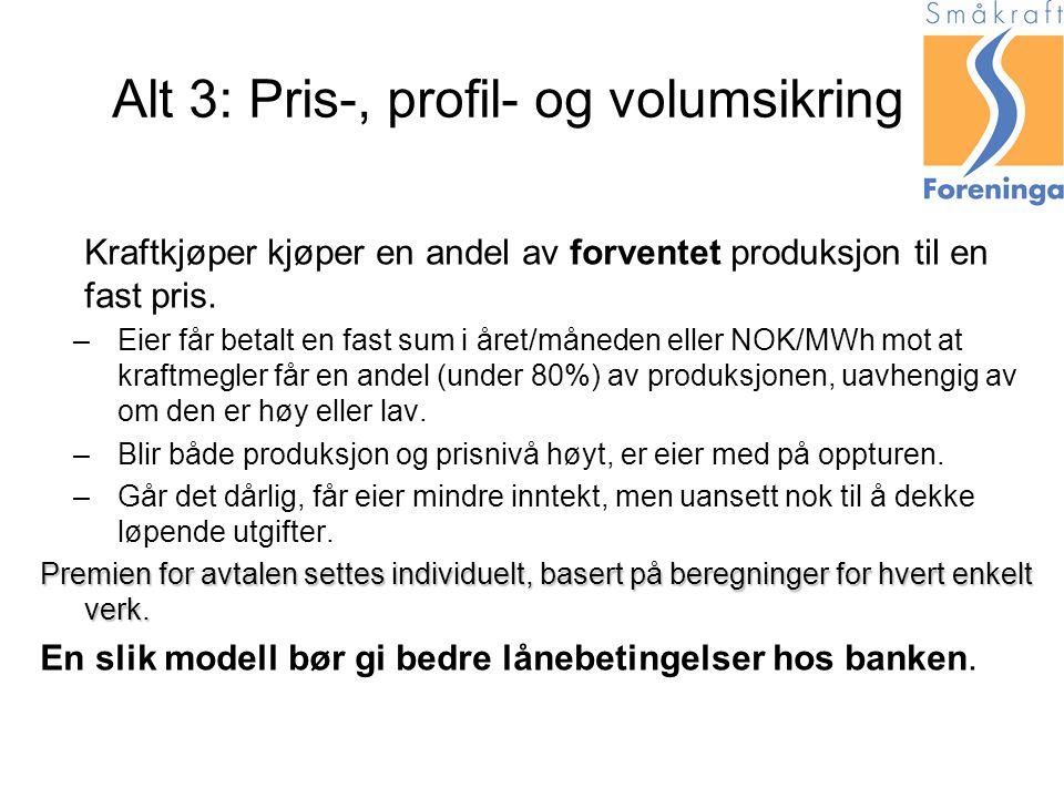 Alt 3: Pris-, profil- og volumsikring