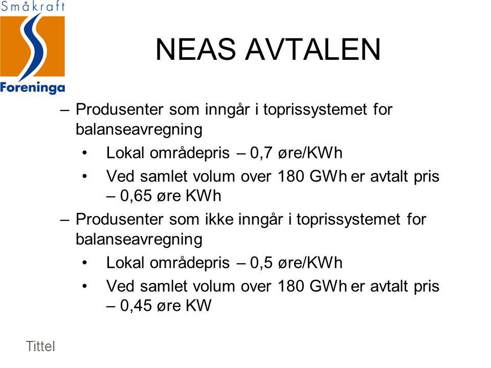 NEAS AVTALEN Produsenter som inngår i toprissystemet for balanseavregning. Lokal områdepris – 0,7 øre/KWh.