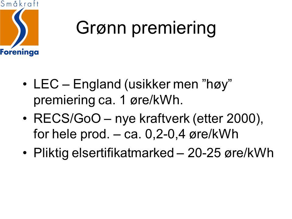 Grønn premiering LEC – England (usikker men høy premiering ca. 1 øre/kWh.
