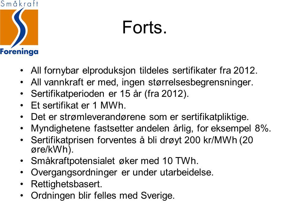 Forts. All fornybar elproduksjon tildeles sertifikater fra 2012.
