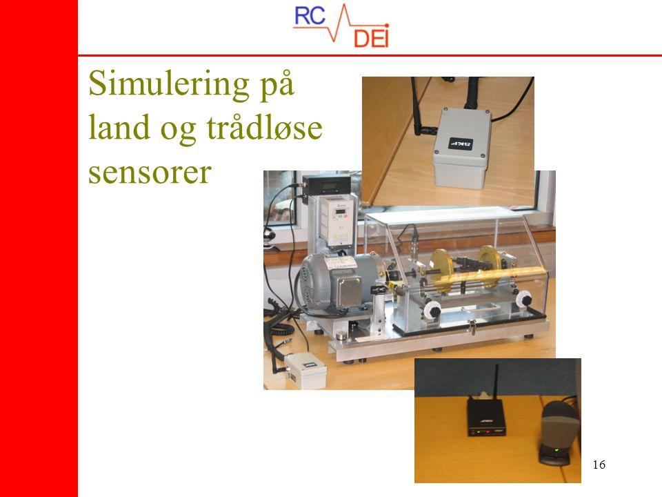 Simulering på land og trådløse sensorer