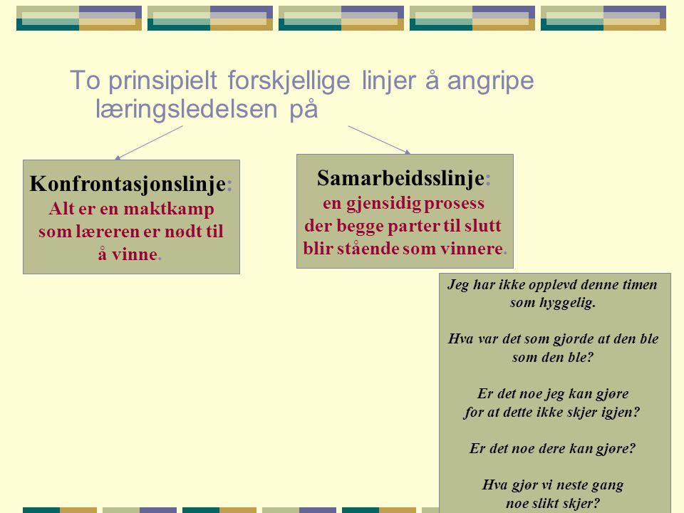 To prinsipielt forskjellige linjer å angripe læringsledelsen på