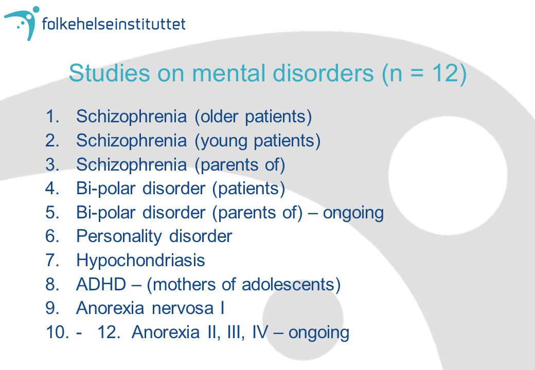 Studies on mental disorders (n = 12)