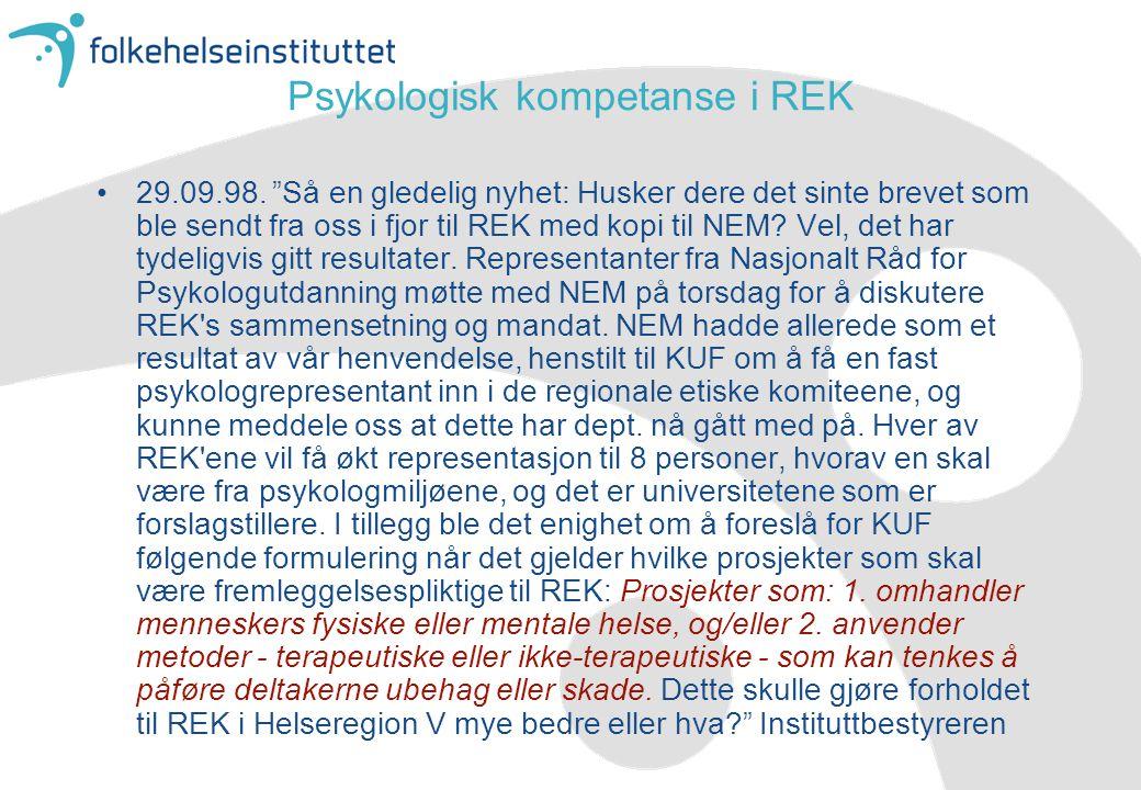 Psykologisk kompetanse i REK